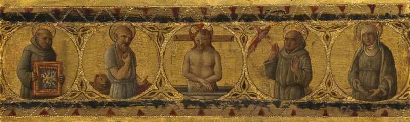 Predella Panel – Dead Christ with Saints Bernardino, Jerome, Francis and Clare