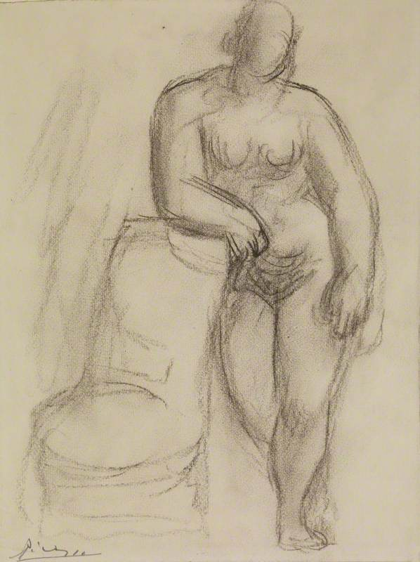 Female Nude with Her Arm Resting on a Chair