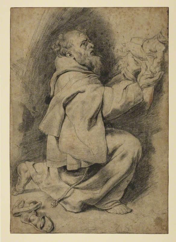 Saint Francis Kneeling, Receiving the Infant Christ