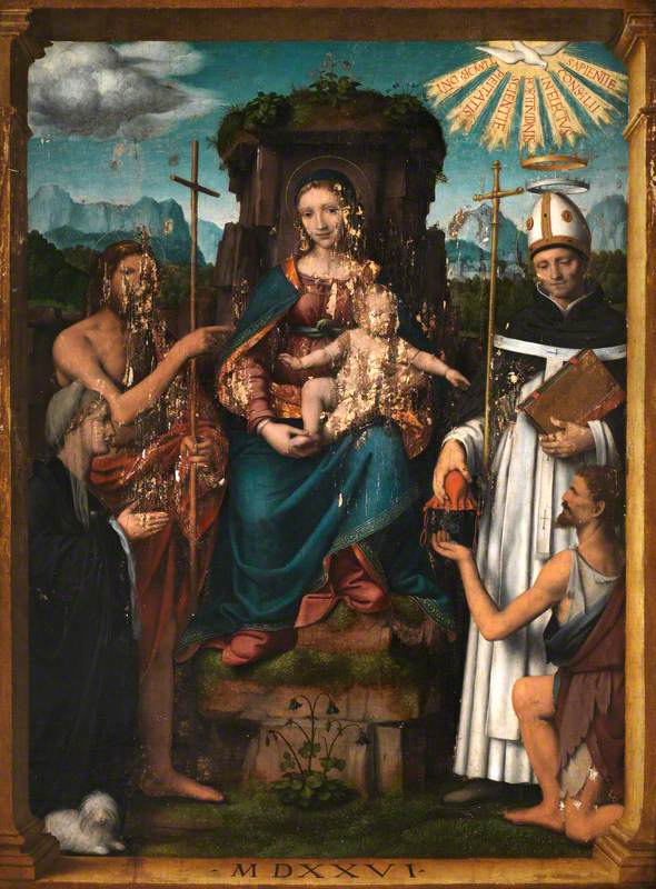 Virgin and Child Enthroned with Saint John the Baptist, Saint Antoninus, a Female Donor and a Beggar