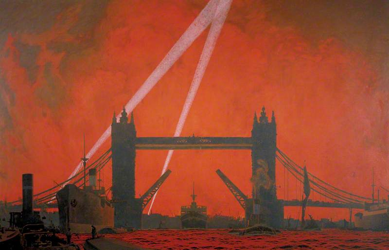 The Pool of London during Dockland Air Raids, 1940