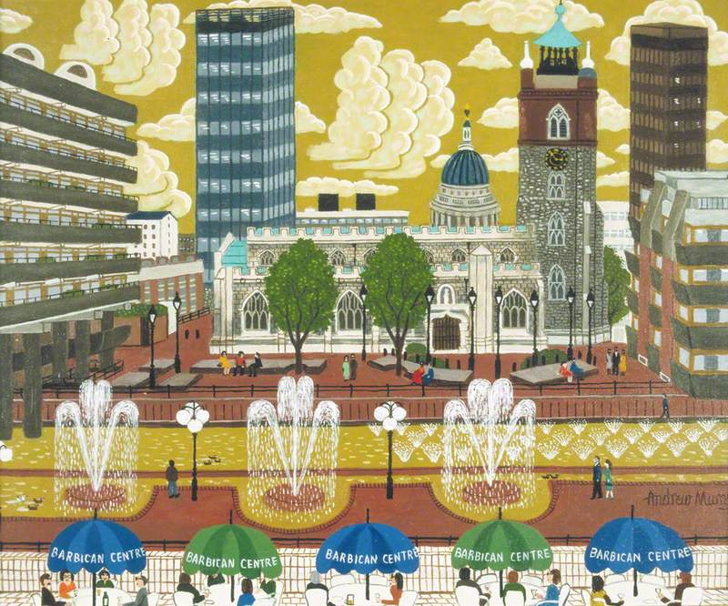 View over the Lakeside Terrace, Barbican Centre, towards St Giles without Cripplegate, London