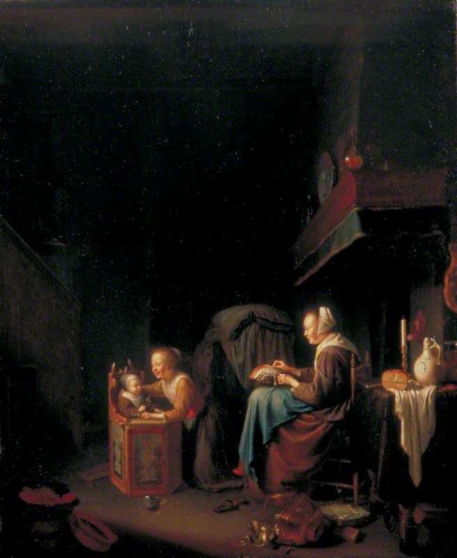 Woman Making Lace with Two Children
