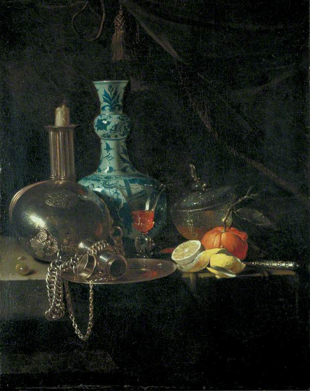 Still Life with a Pilgrim Flask, Candlestick, Porcelain Vase and Fruit