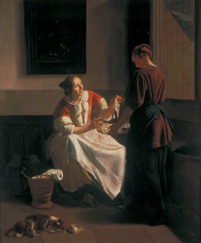 A Lady and Maid Choosing Fish