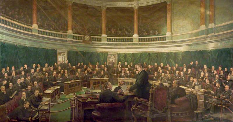 The First Meeting of the London County Council in the County Hall Spring Gardens, 1889