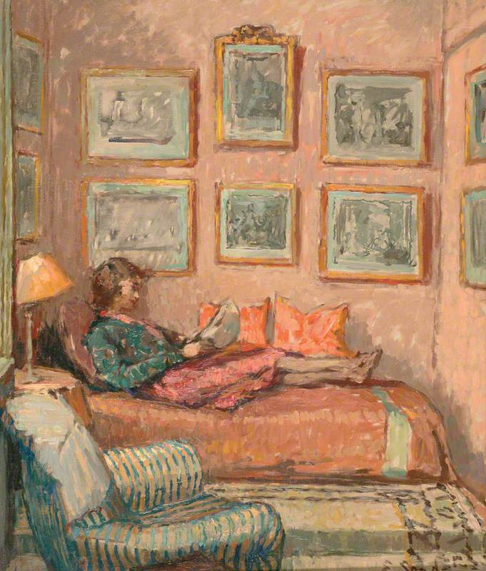 Girl Reading on a Sofa, Auppegard, France