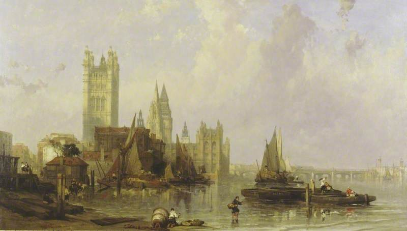 The Houses of Parliament from Millbank, London