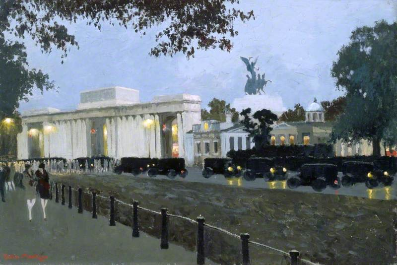 Hyde Park Corner from Rotten Row at Night, London