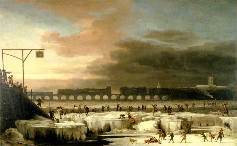 The Frozen Thames, Looking Eastwards towards Old London Bridge, London