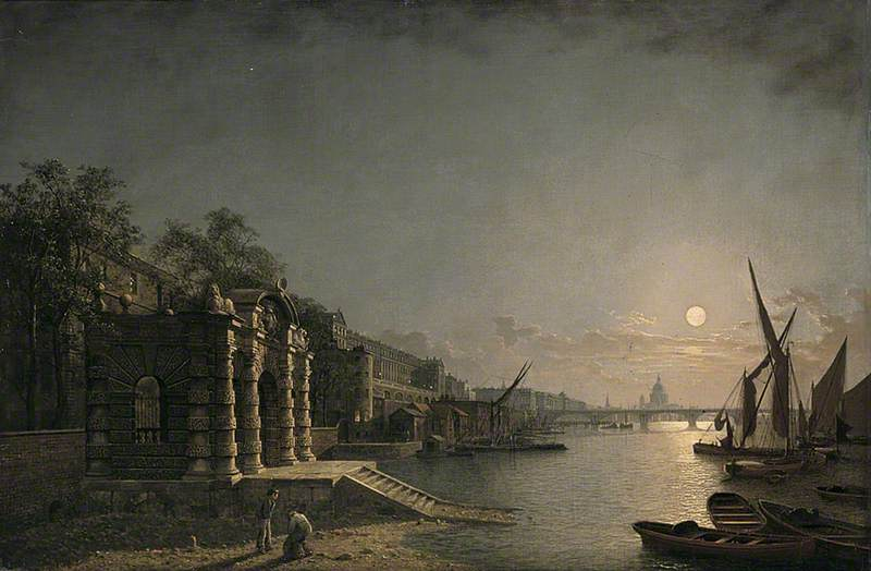 York Watergate and the Adelphi from the River, London, by Moonlight