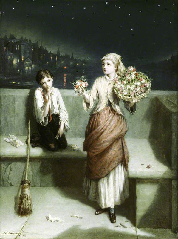 A London Crossing Sweeper and Flower Girl