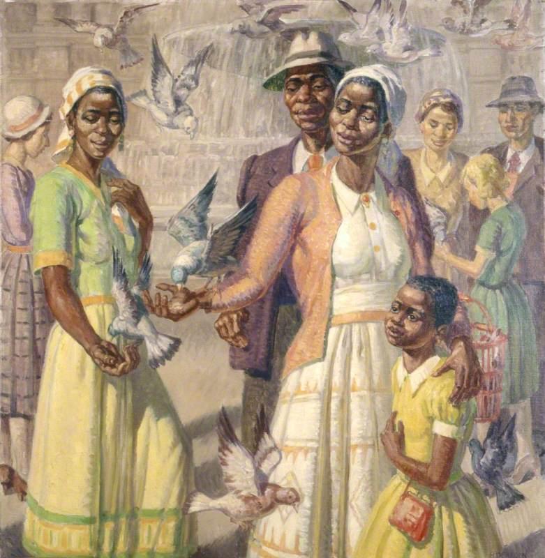 Caribbean Family in Trafalgar Square, London