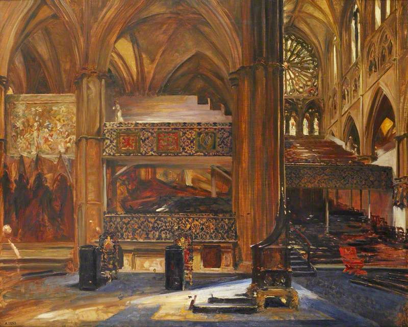 Interior of Westminster Abbey, London, Looking into the South Transept