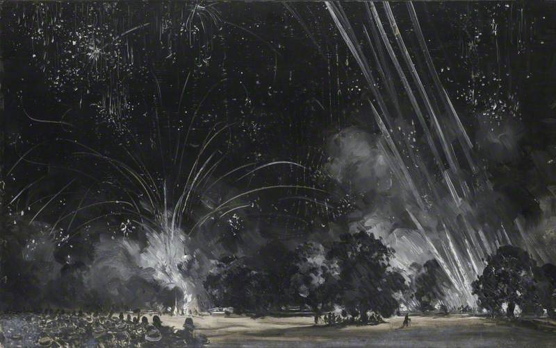 Fireworks in Hyde Park, London, on Peace Night, 26 July 1919
