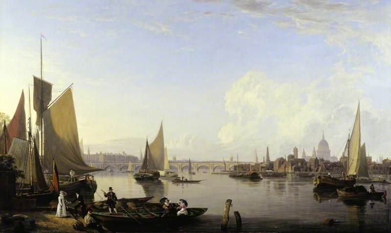 Waterloo Bridge and the Lambeth Waterfront from Westminster Stairs, London