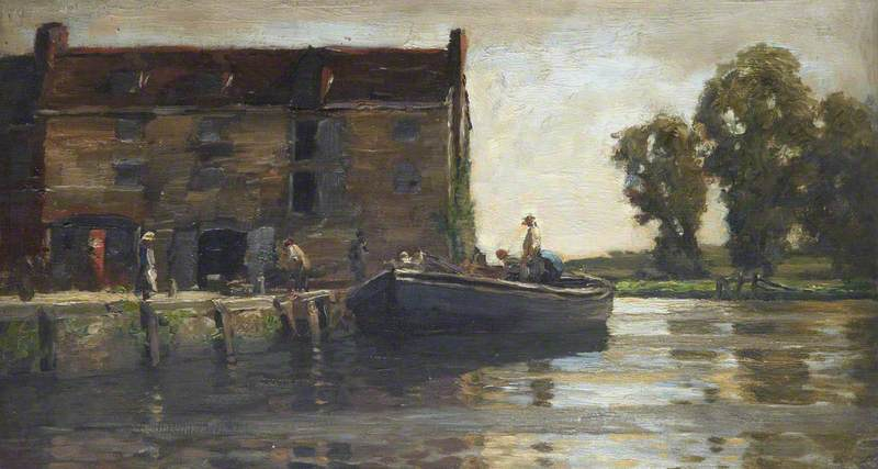 River Scene with a Barge