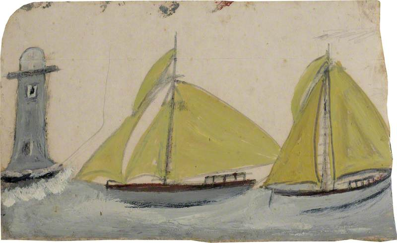Two Boats with Yellow Sails and Lighthouse