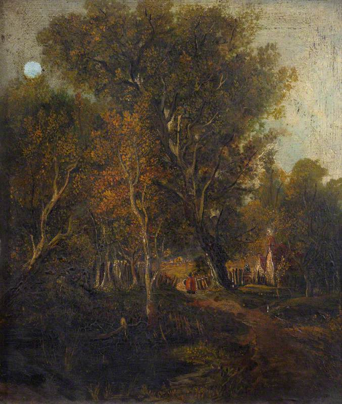 Wooded Lane with Cottages and a Figure in Red