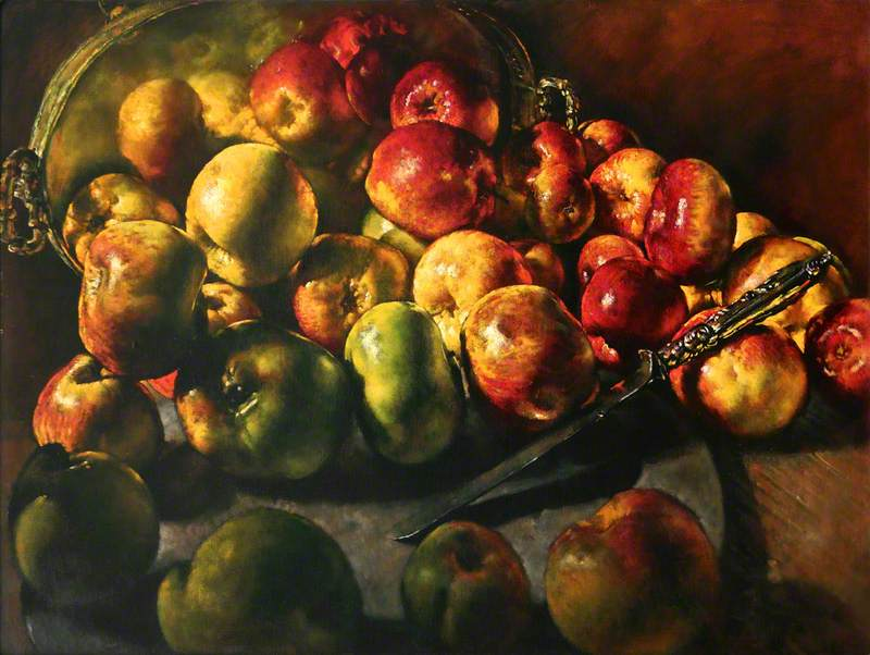 Reflected Apples, with Pewter Charger and Knife