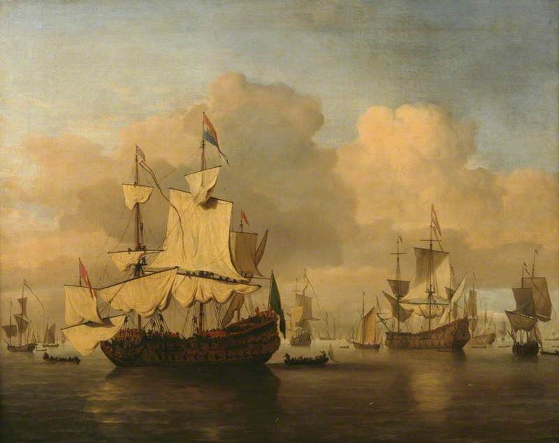 Dutch Men O'War in a Calm Sea with Numerous Other Ships