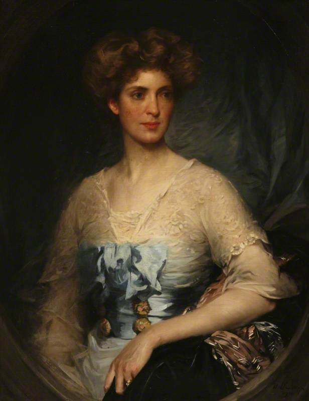 Lady Edith Villiers (1878–1935), Wearing a Blue Satin Gown
