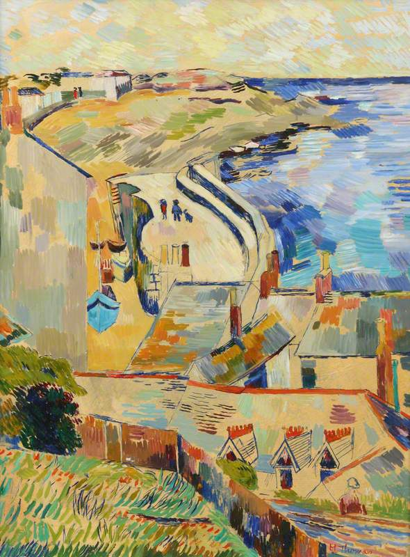 Houses and Harbour Wall, Mousehole