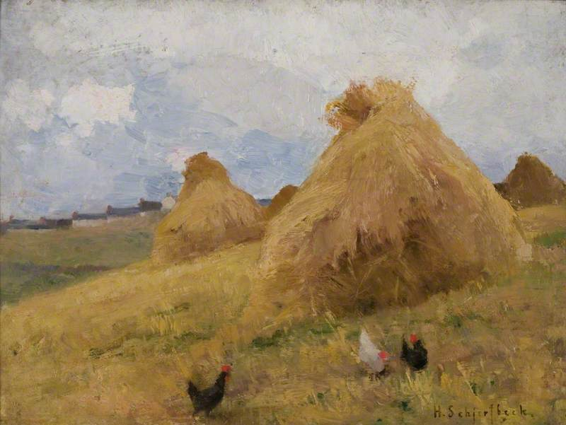Chickens amongst Cornstooks