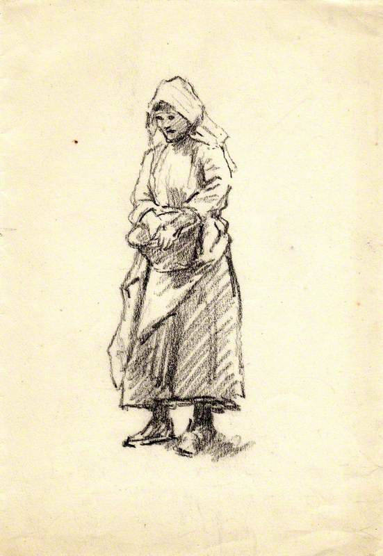 Charcoal Study of Girl with Basket