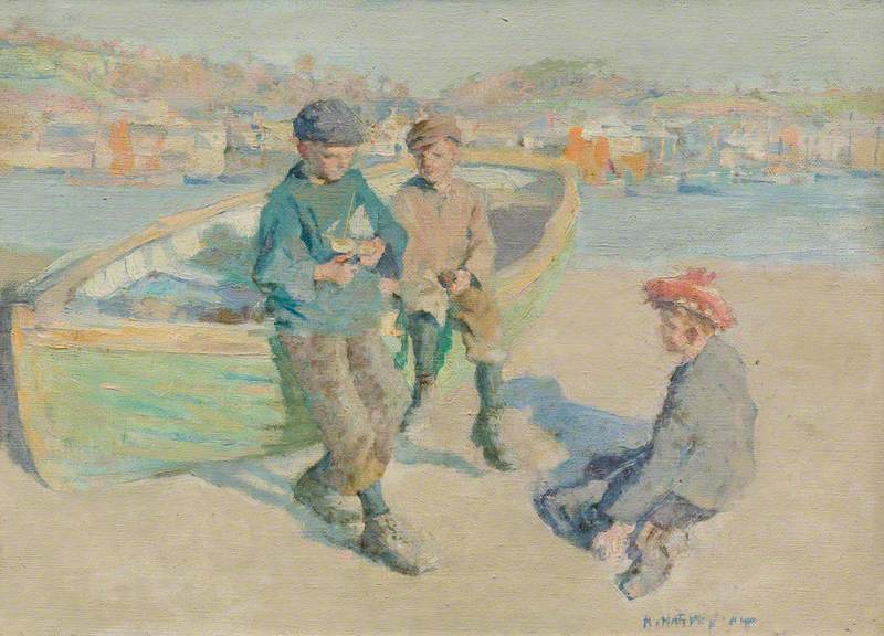 Children in Newlyn Harbour