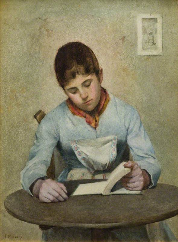 Young Girl Seated at a Table Reading a Book