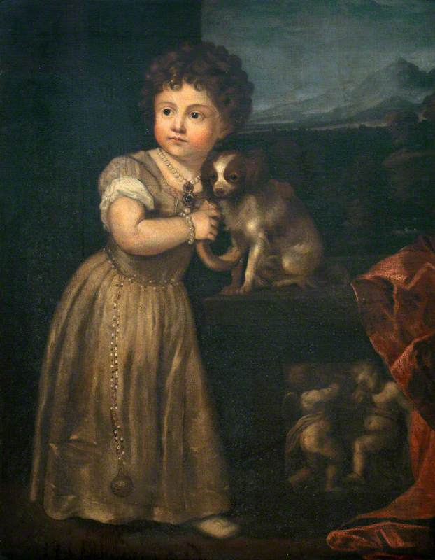 Portrait of a Young Girl with a Dog