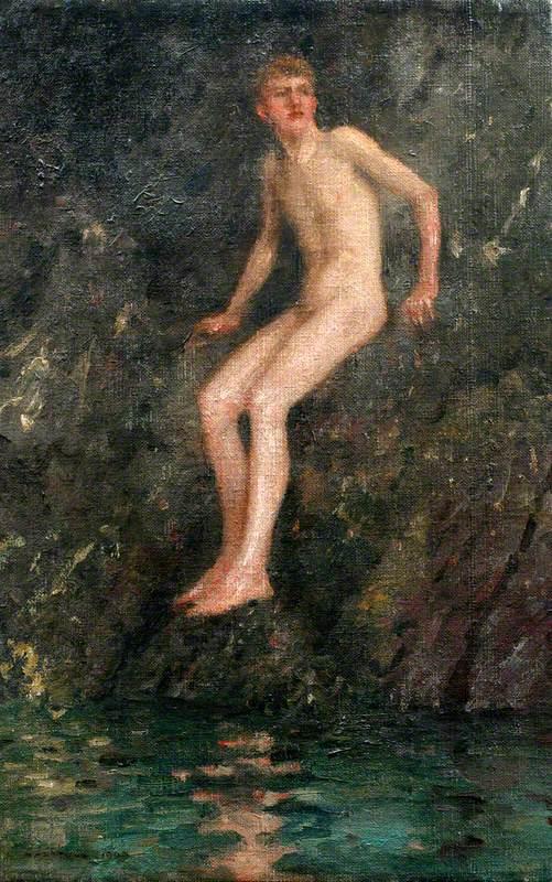 Nude Boy on Rocks