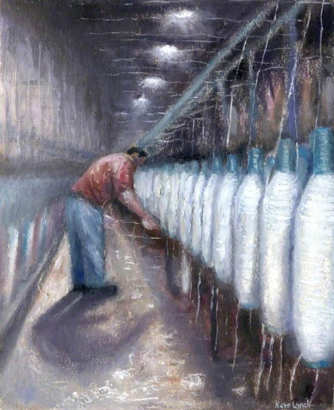 The Twister Attending His Bobbins of Plying Yarn, Buckfast Spinning Mill, Buckfastleigh, Devon