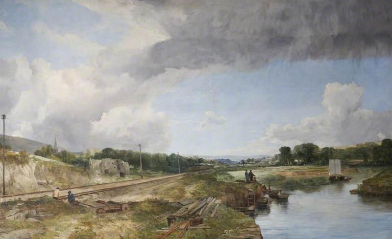 River Taw and the Railway, Bishop's Tawton, near Barnstaple, Devon