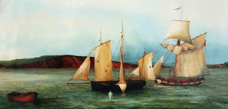 A Revenue Cutter Apprehends the Smuggler Jack Rattenbury off Budleigh Salterton