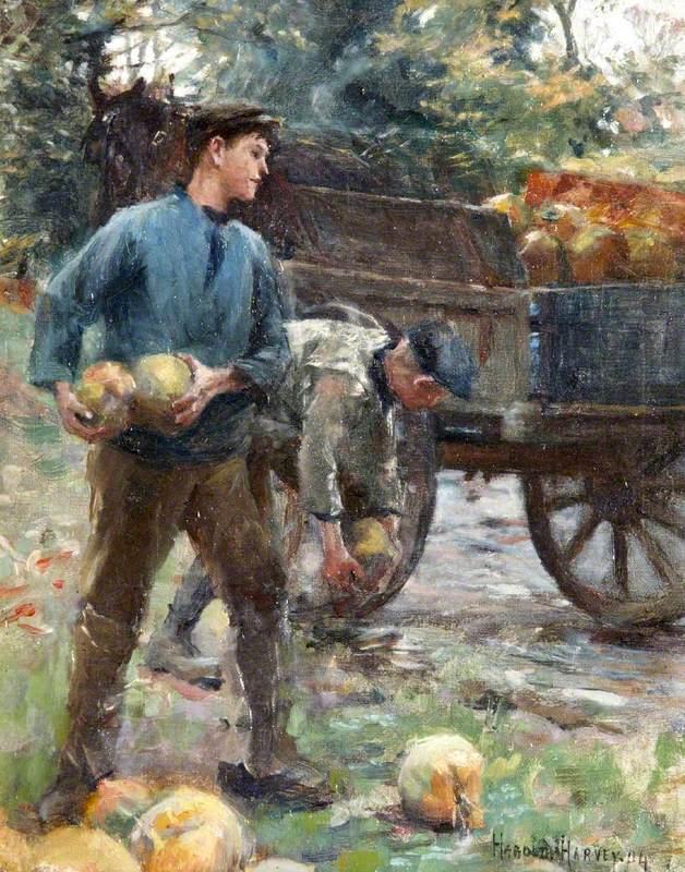 Boys Loading Mangolds onto a Cart