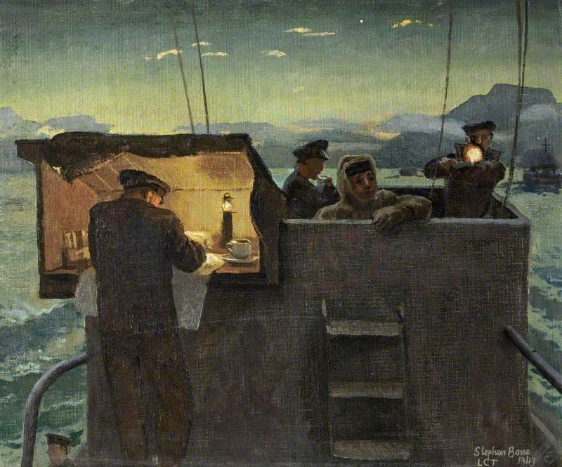 Tank Landing Craft: On the Bridge at Dawn