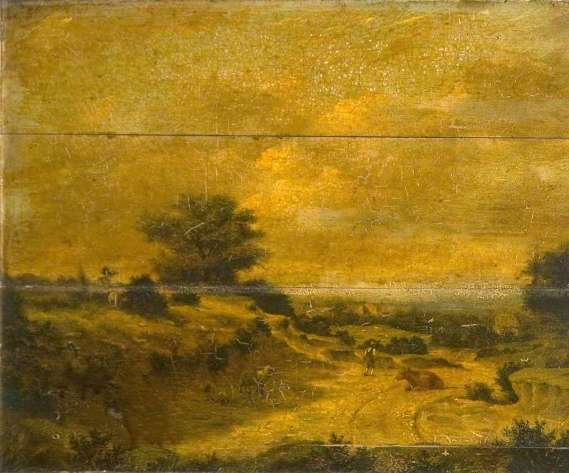 Golden Landscape with a Drover and a Cow