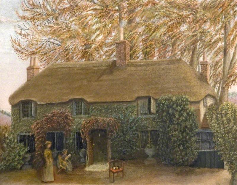 Thomas Hardy's Birthplace at Bockhampton, Dorset, Showing His Mother and Sister