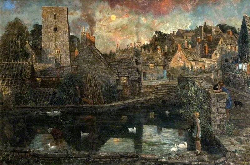 A View of Church Hill from the Mill Pond, Old Swanage, Dorset