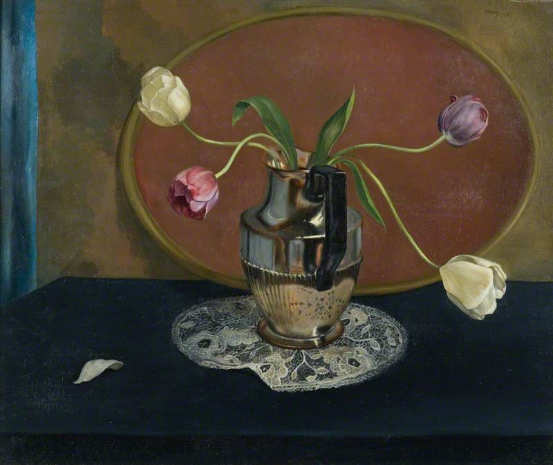 Tulips in a Lustre Jug