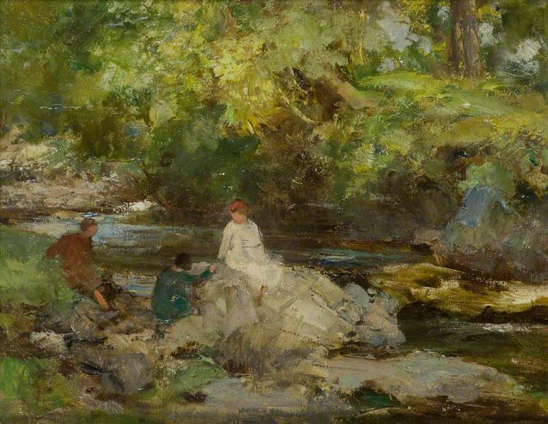 Three Figures by a River
