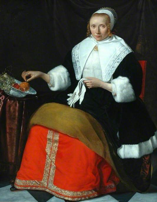 Portrait of a Lady in a Fur-Trimmed Dress Holding a Pair of White Gloves
