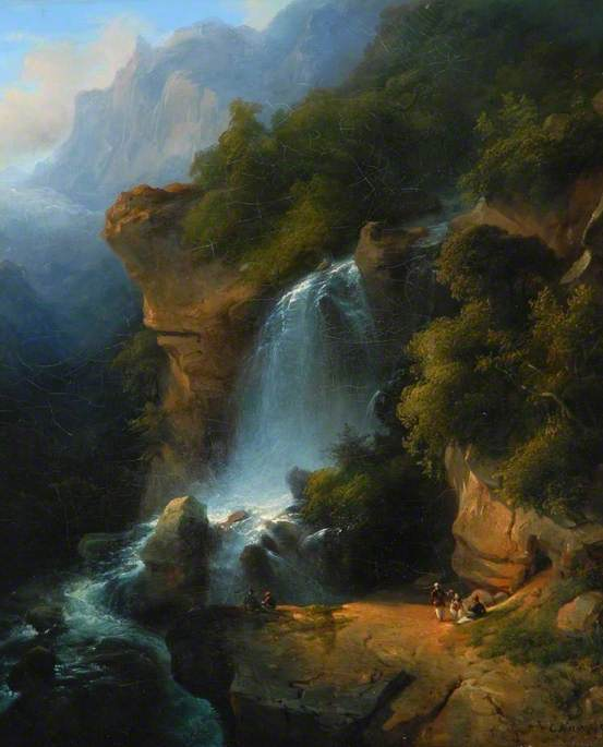A Waterfall among Mountains with Figures