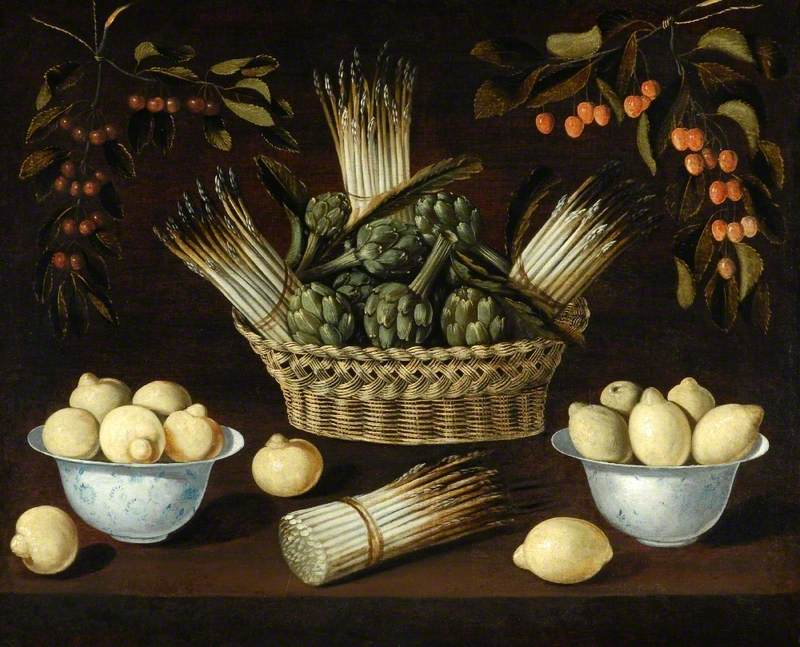 Still Life with Asparagus, Artichokes, Lemons and Cherries