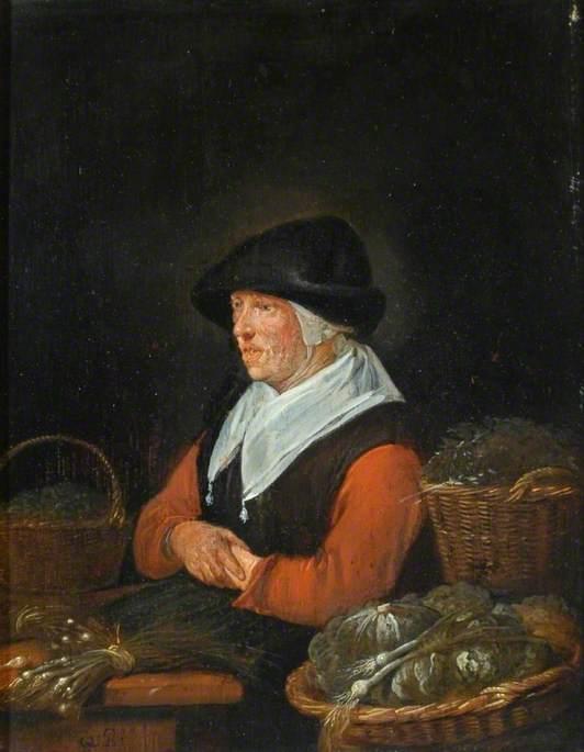 An Old Vegetable Dealer on Her Stall