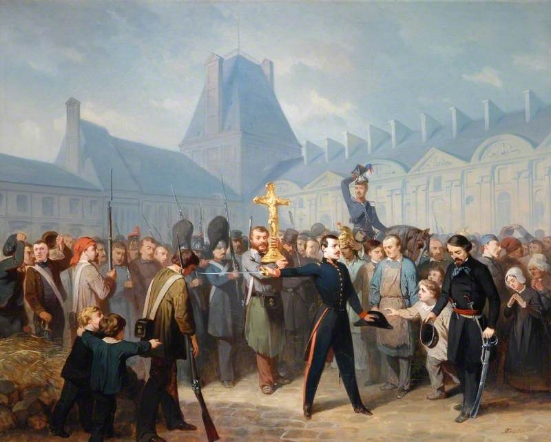 Incident of the Revolution of 1848 in Paris in the Court of the Louvre