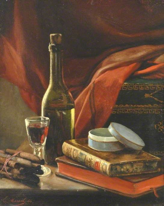 Still Life with Books, a Bottle and a Bundle of Cigars