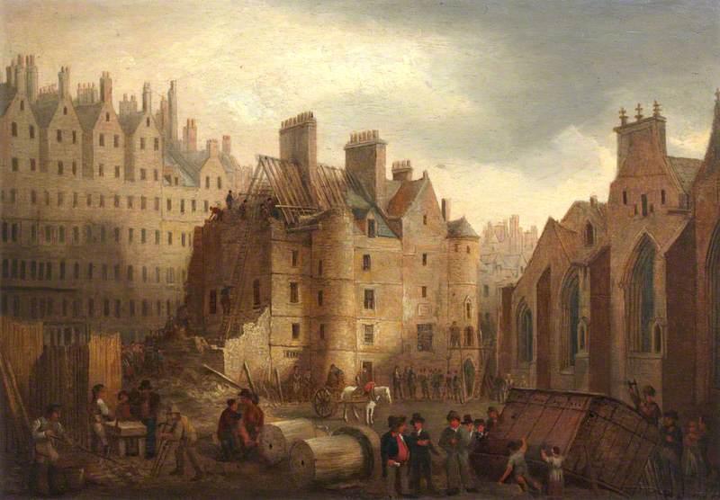 The Old Tolbooth of Edinburgh during Demolition